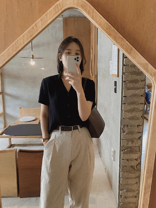 wig short sleeve linen shirt
