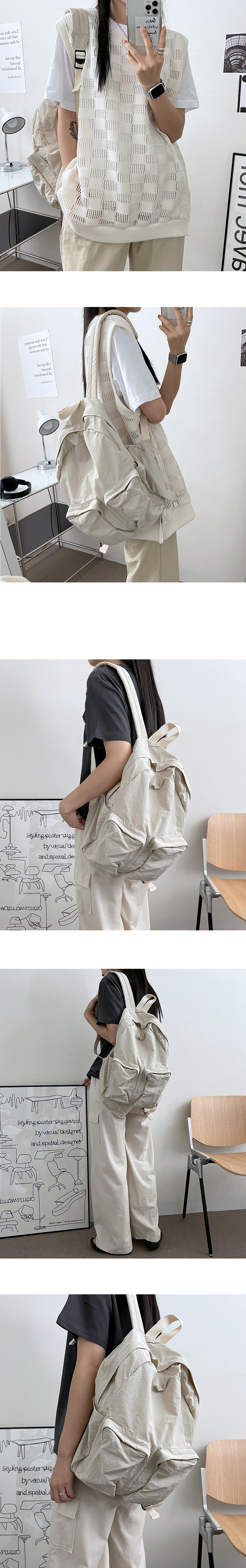 Creamy Daily Two Pocket Backpack