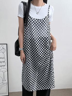 Checker see-through layered string Dress
