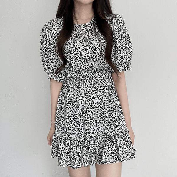 leopard shirring Dress