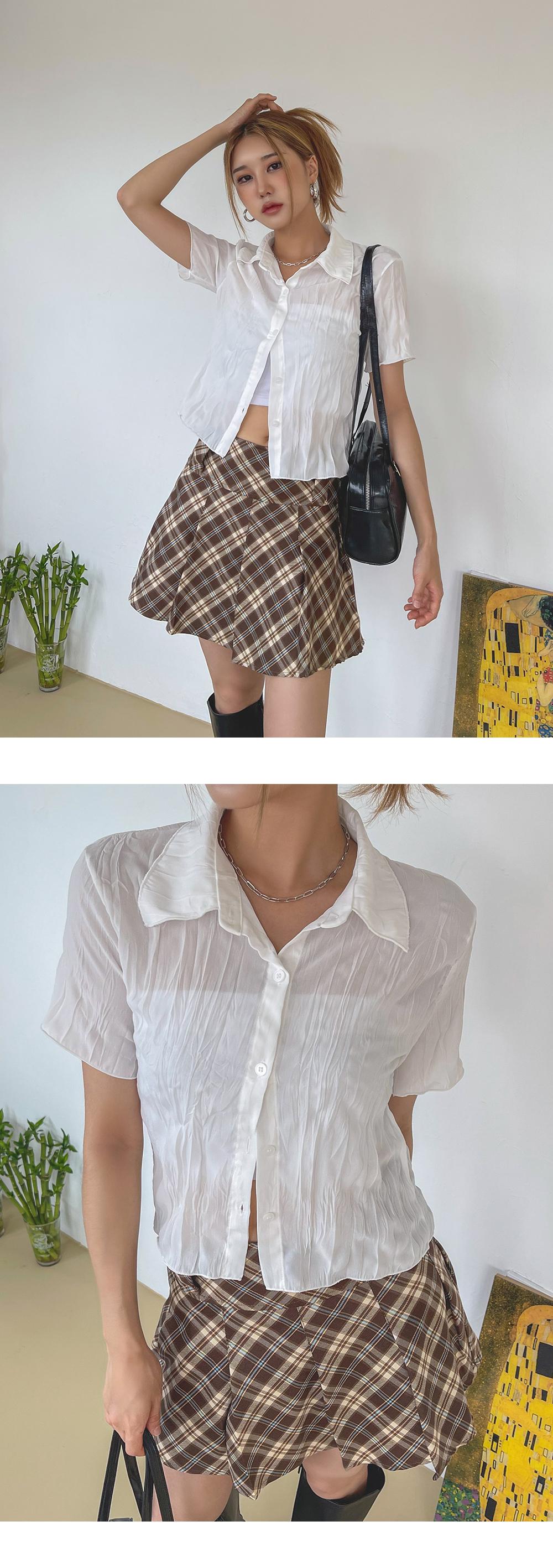 Wetab Wrinkle Crop Shirt