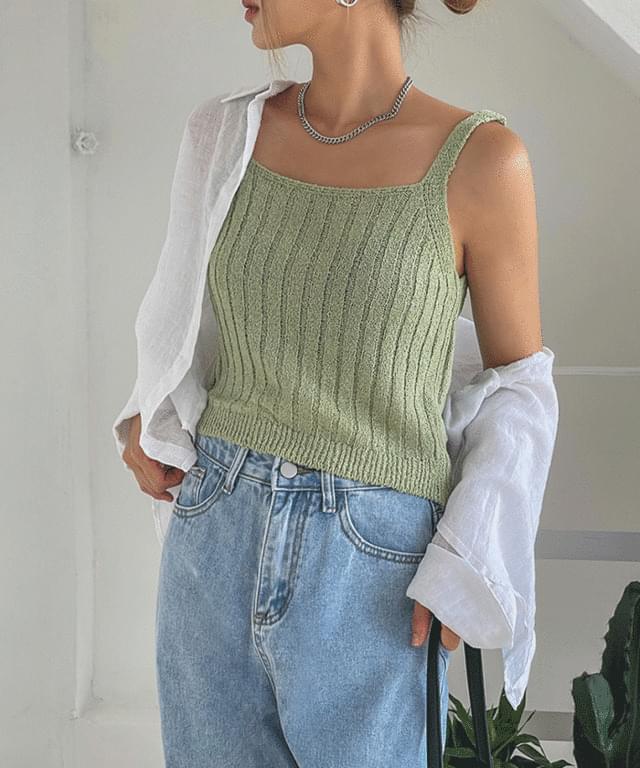 Velvet Bouquet Knitwear Crop Sleeveless