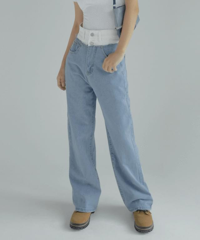 Uni two-tone color matching wide pants