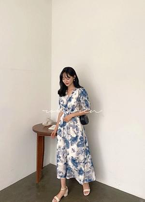 Loblen Ruffle Smoke Banding Pattern Long Dress