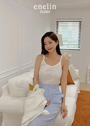 Lin enabled summer basic Ribbed U-neck Sleeveless