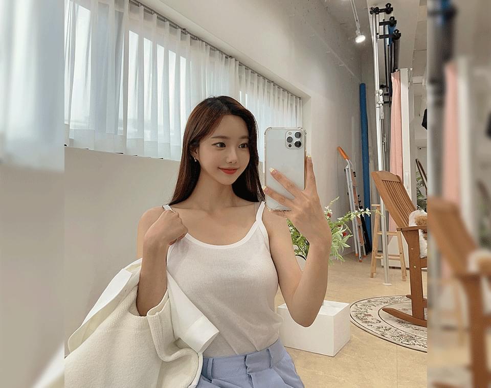 Lin enabled summer basic Ribbed U-neck Sleeveless 無袖