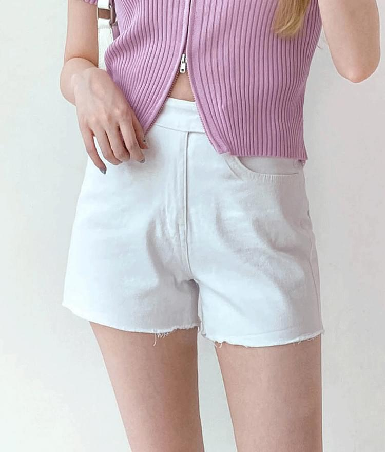 Solid Tone Raw Hem Shorts
