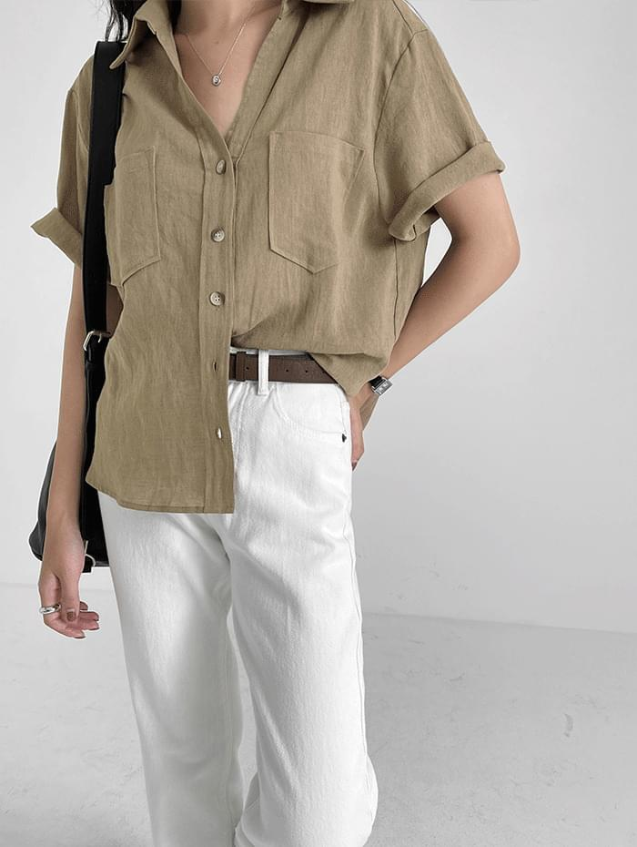 v-collar linen shirt