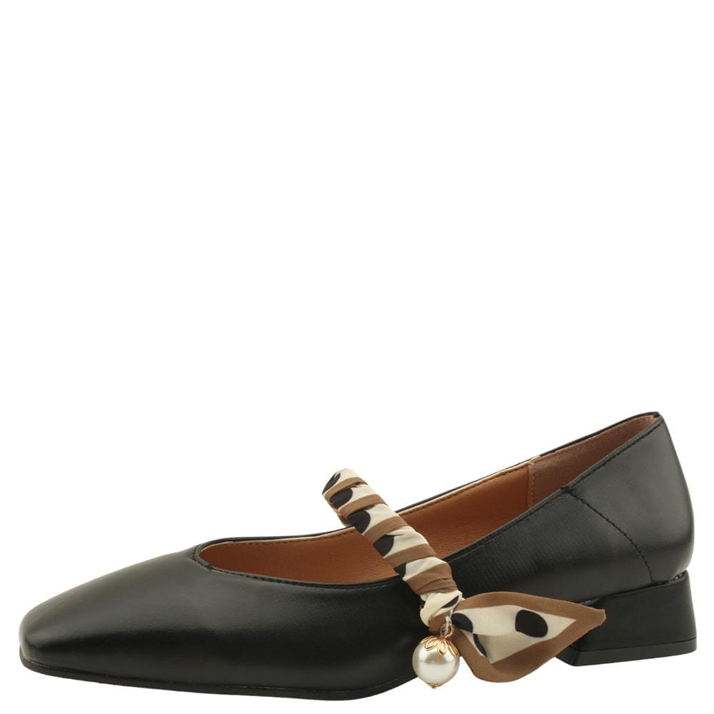 Silk Mary Jane Low Heel Pumps Black