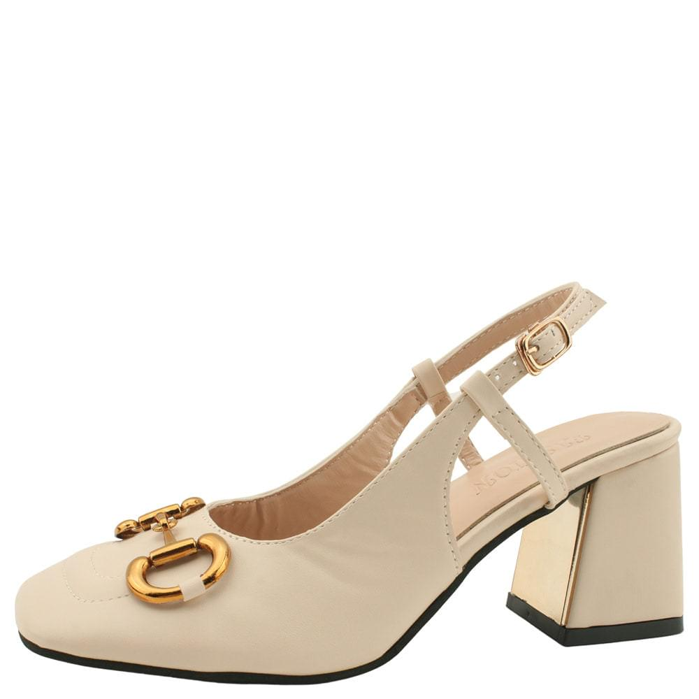 Chain Heel Sling Bag Middle Heel Beige 跟鞋