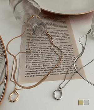 Round object snakestrap layered set necklace