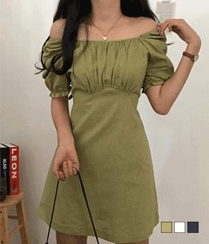 Carebell shirring linen mini Dress