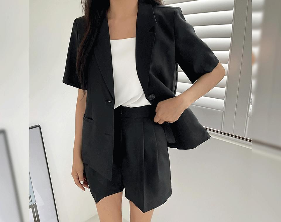 Krenme Summer Two-Piece Collar Neck Two Button Short Sleeve Jacket