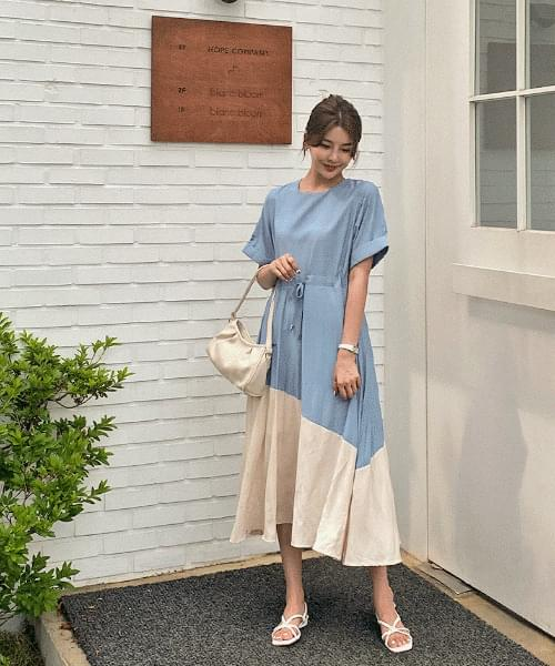 Yarn String Color Matching Dress - 2color