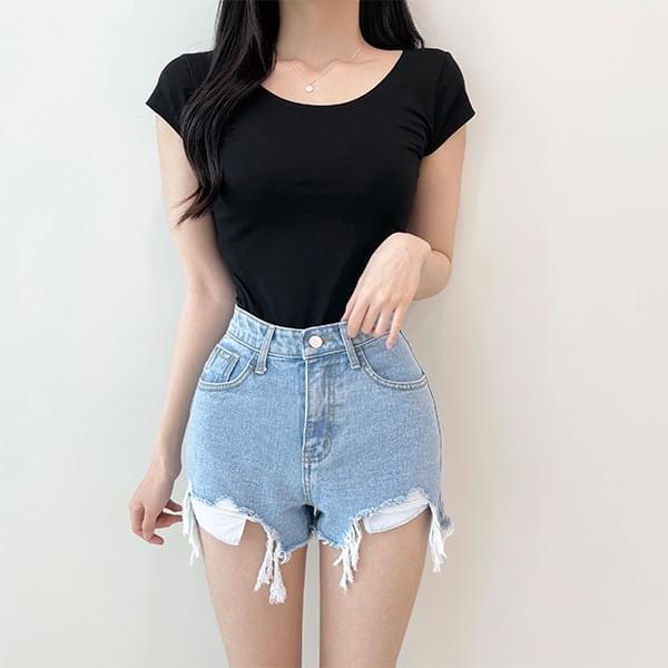 Deli, Basic U Neck Short Sleeve T-shirt