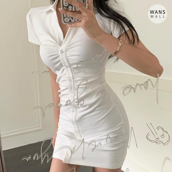 op5414 Ritz tight shirring mini Dress