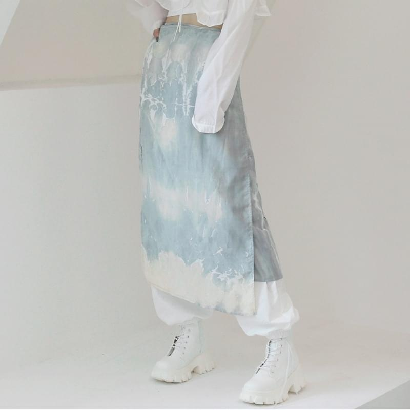 glen tie-dye wrap skirt 裙子