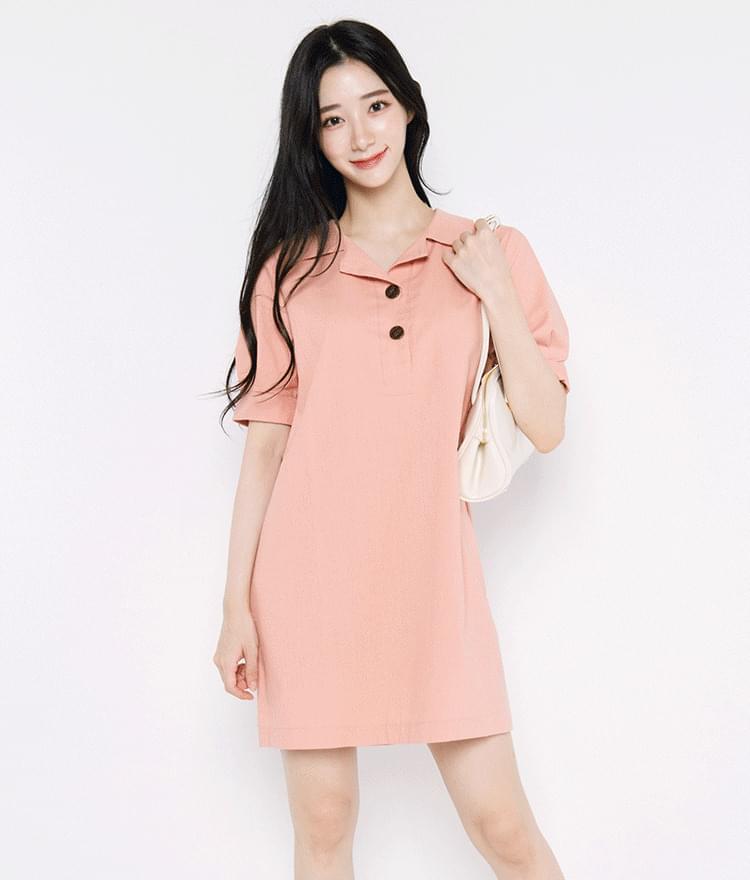 Notch Collar Mini Dress