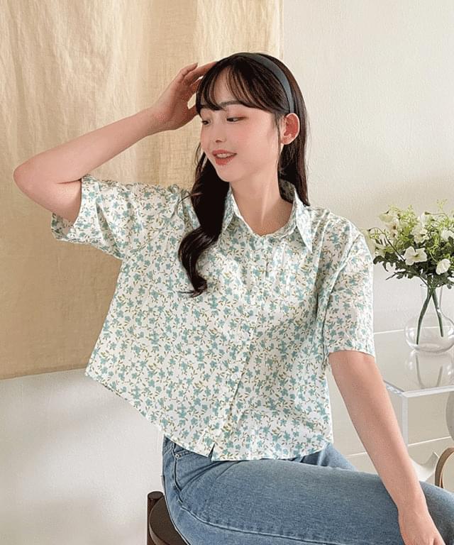 Big Size 55-99 Bern Flower Crop Shirt