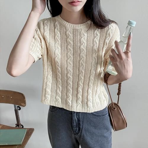 Honey Cotton Cable Crop Knitwear 針織衫