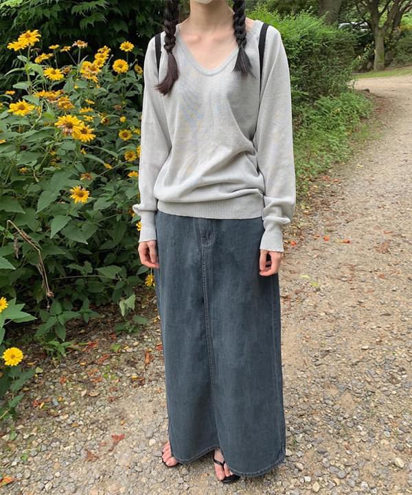 Omyo Denim Split Long Skirt