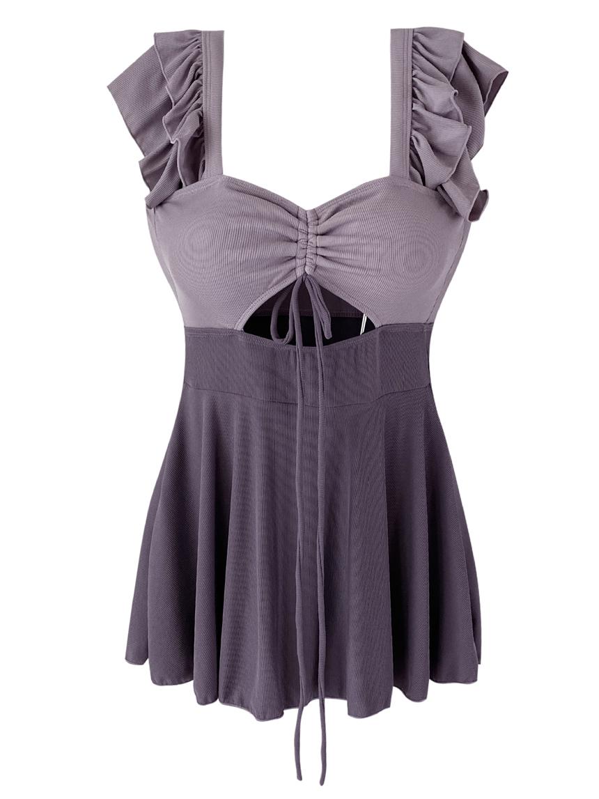 Gorgeous lovely chest shirring slit ribbon color matching purple Dress bikini