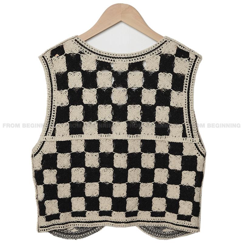 chess pattern crochet vest