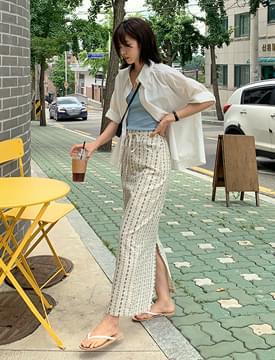 Flower Ribbon Banding Long Skirt