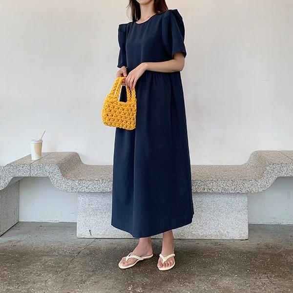 Narae*Back Ribbon Puff Long Dress
