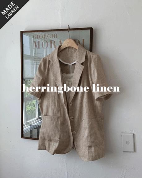 Herringbone Single Midi Short Sleeve-Jacket
