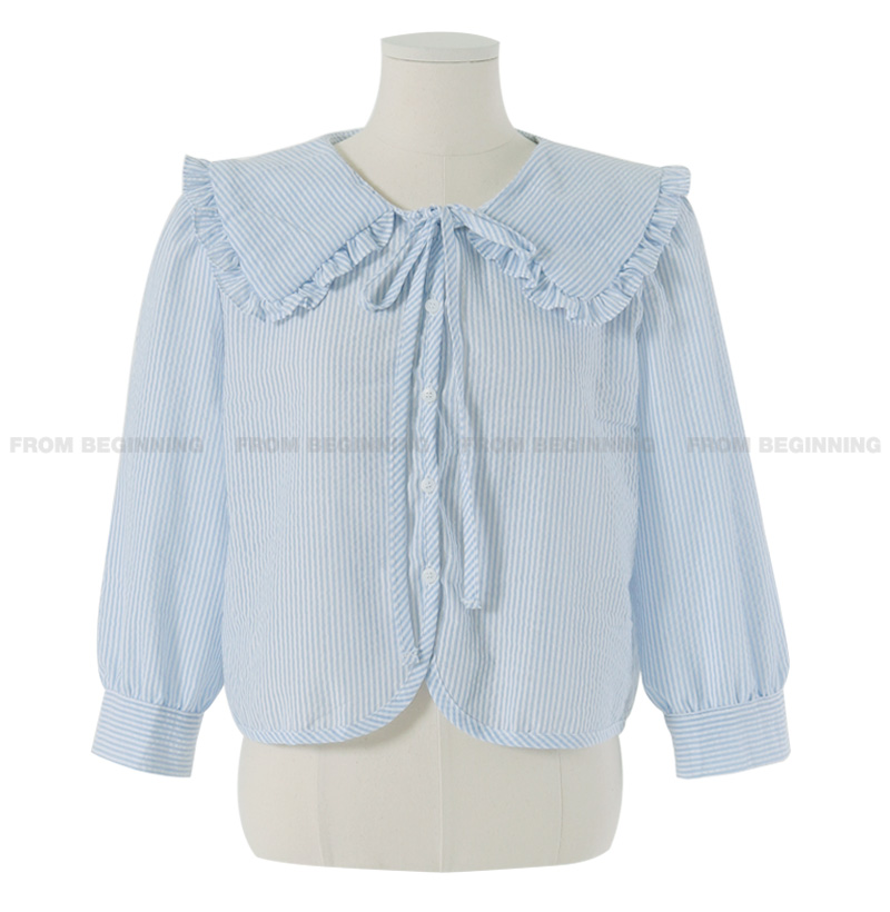 seersucker frill big collar blouse
