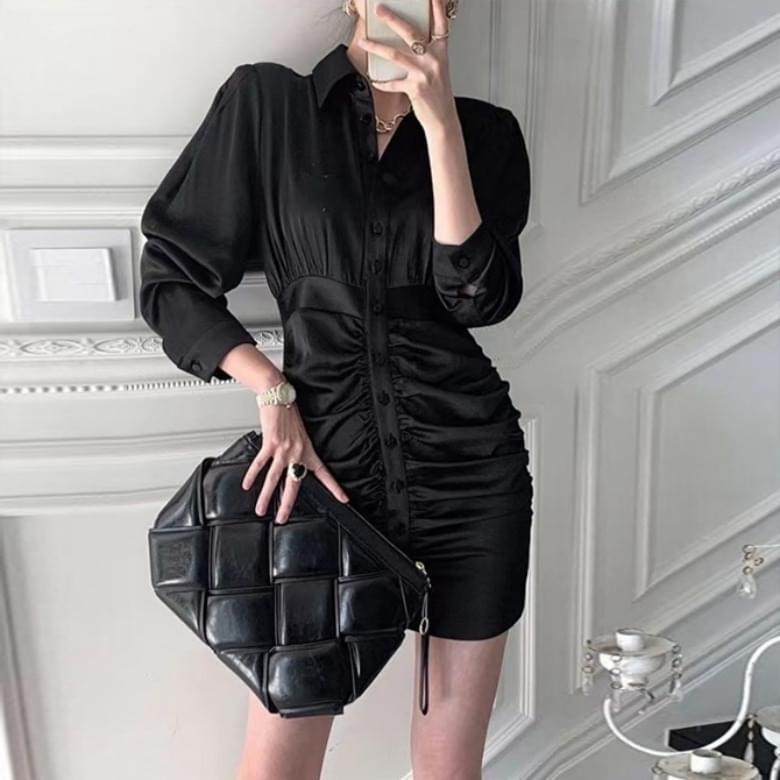 chenin line fit bean button shirring collar Dress