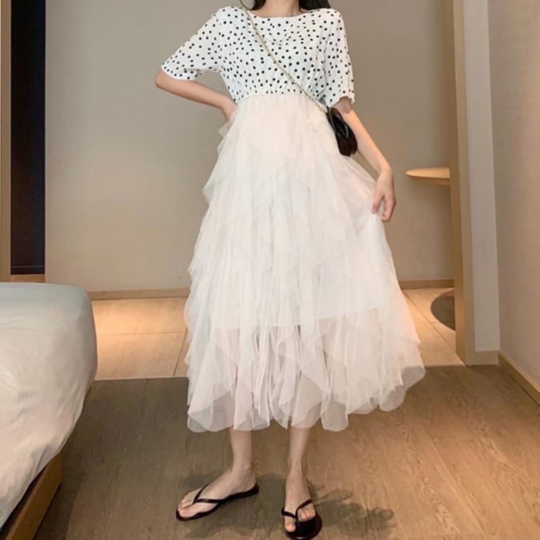 Luan Mesh Chiffon Cancan Dot Dress