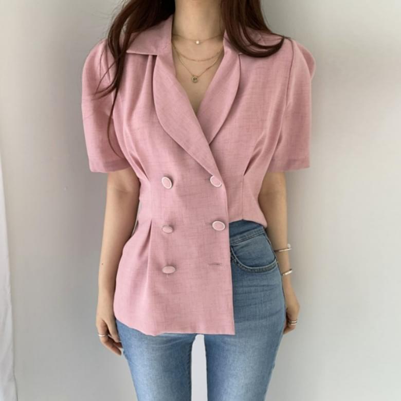 Rub Sophisticated Blouse Collar Short Sleeve Jacket