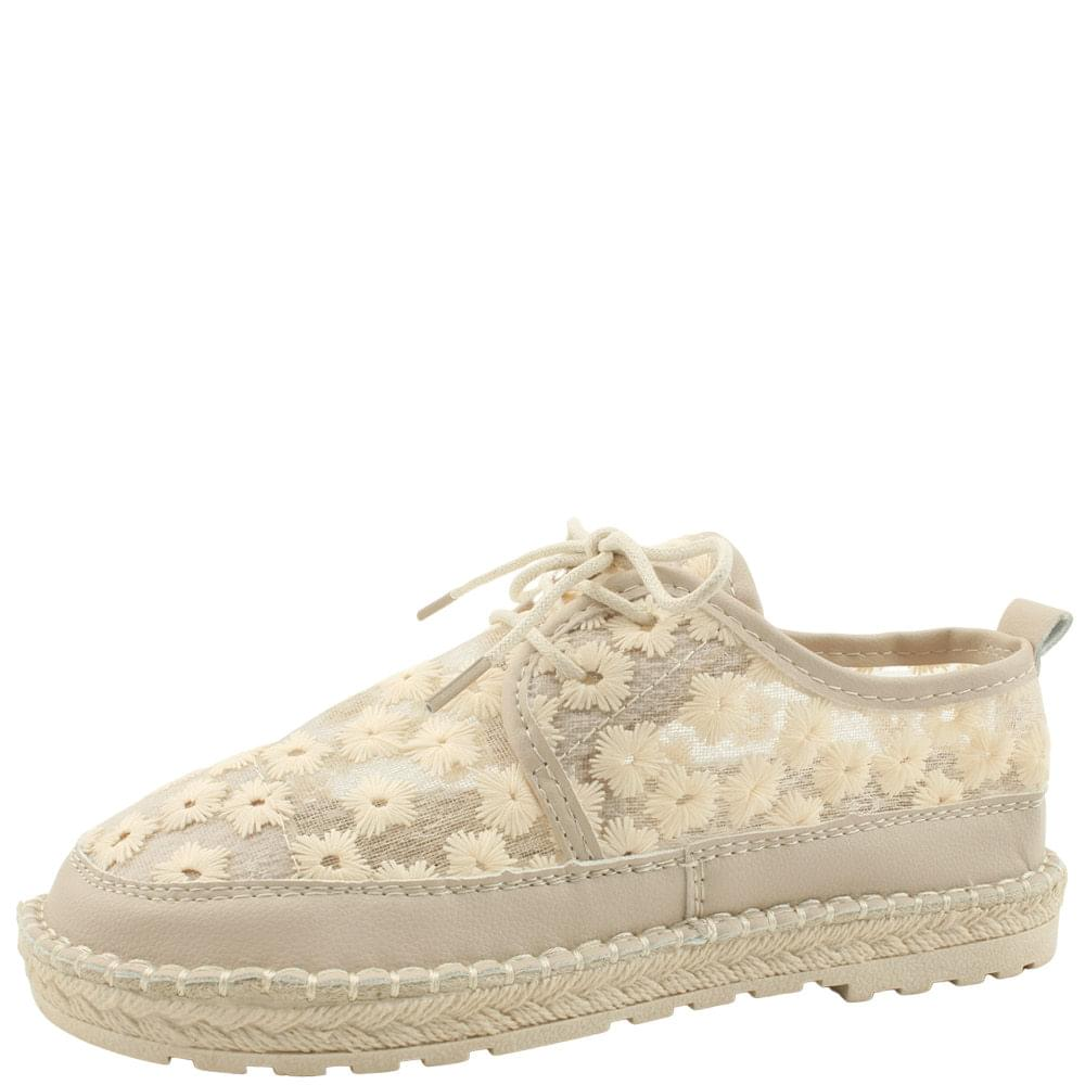 Floral Embroidered Lace Sneakers Beige