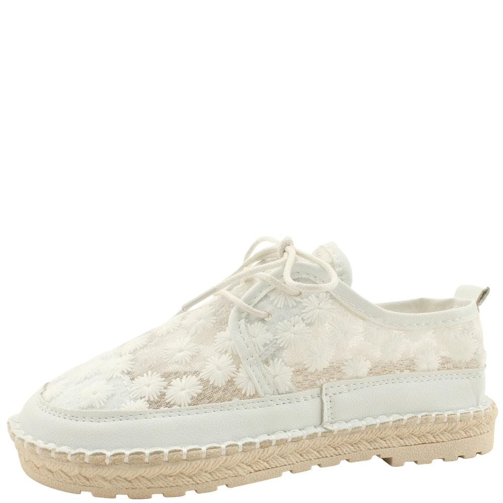 Floral Embroidered Lace Sneakers White