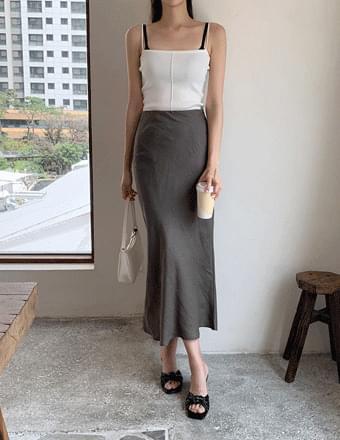 Do blue* back slit linen long skirt