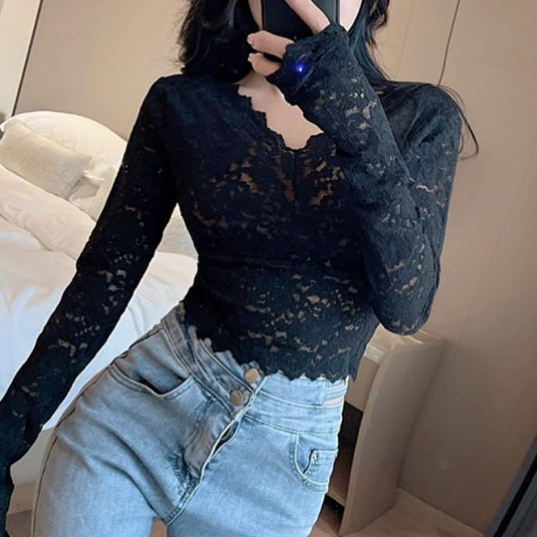 V Neck Wave Lace Sleeve T-shirt