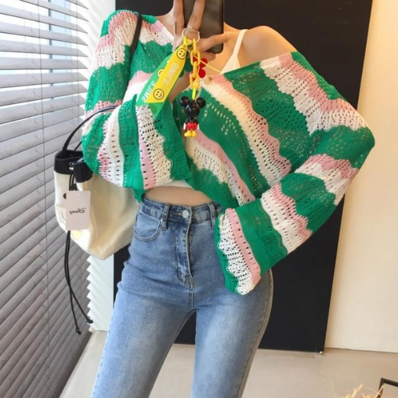 Overfit V Neck Color Matching Crop Long Sleeve Knitwear
