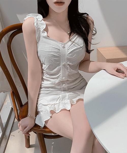 Milkshake Shirring Button Ruffle Sleeveless Mini Dress