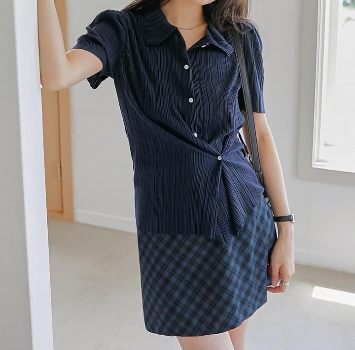 兩穿式直紋澎袖短袖襯衫