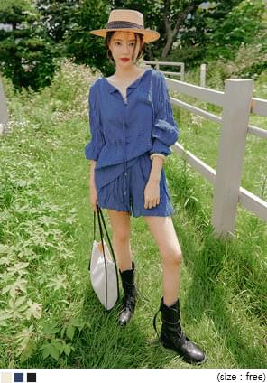String Accent Wrinkled Blouse
