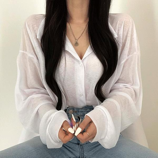 Super slim fit summer see-through blouse