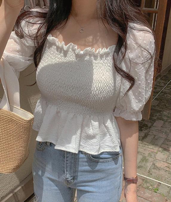 pompom smoke frill blouse