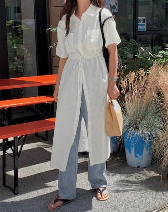 Cheeked Two Way Shirt Long Dress - 2 color