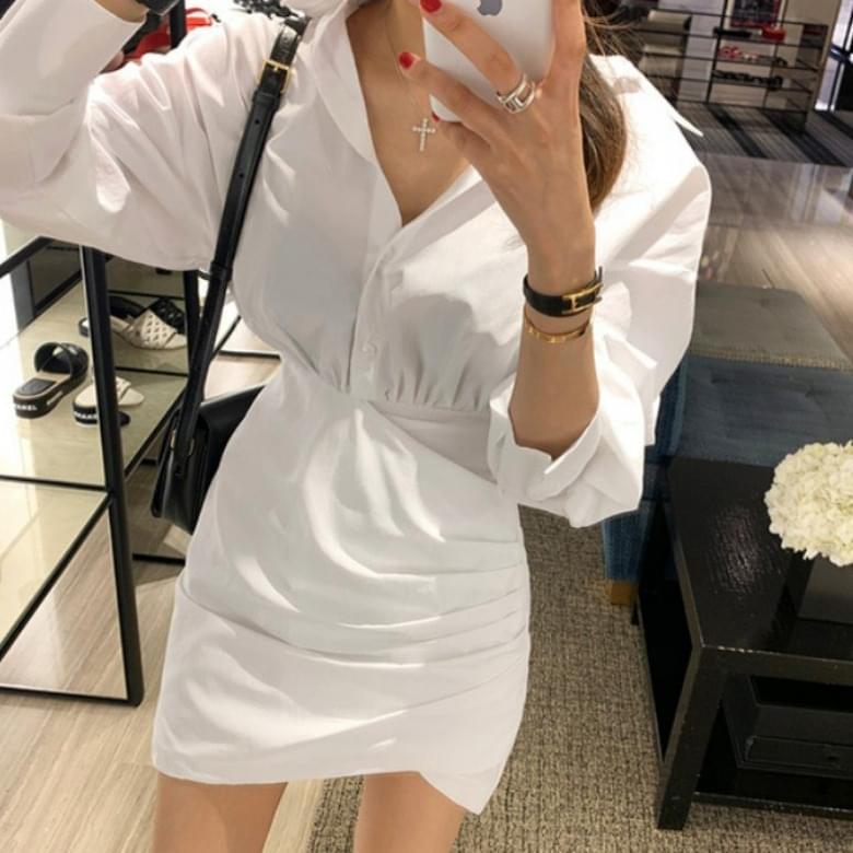 beroy white shirt shirring Dress