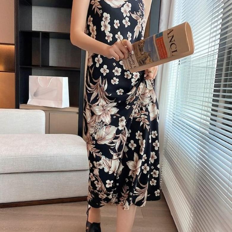 Popular Summer Big Flower String Sleeveless Dress