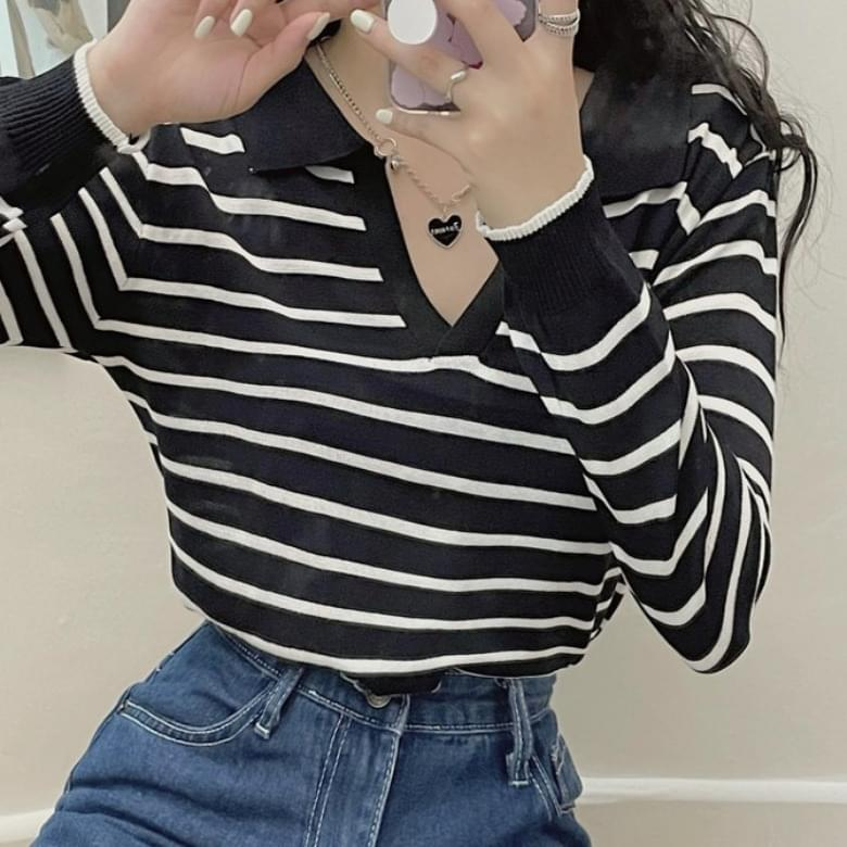 Renu Basic Striped Shirt Long Sleeve Knitwear
