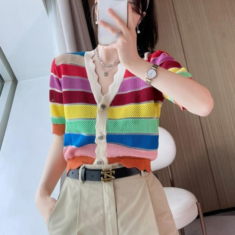 Sweety Rainbow Wavy Knitwear Short Sleeve Cardigan