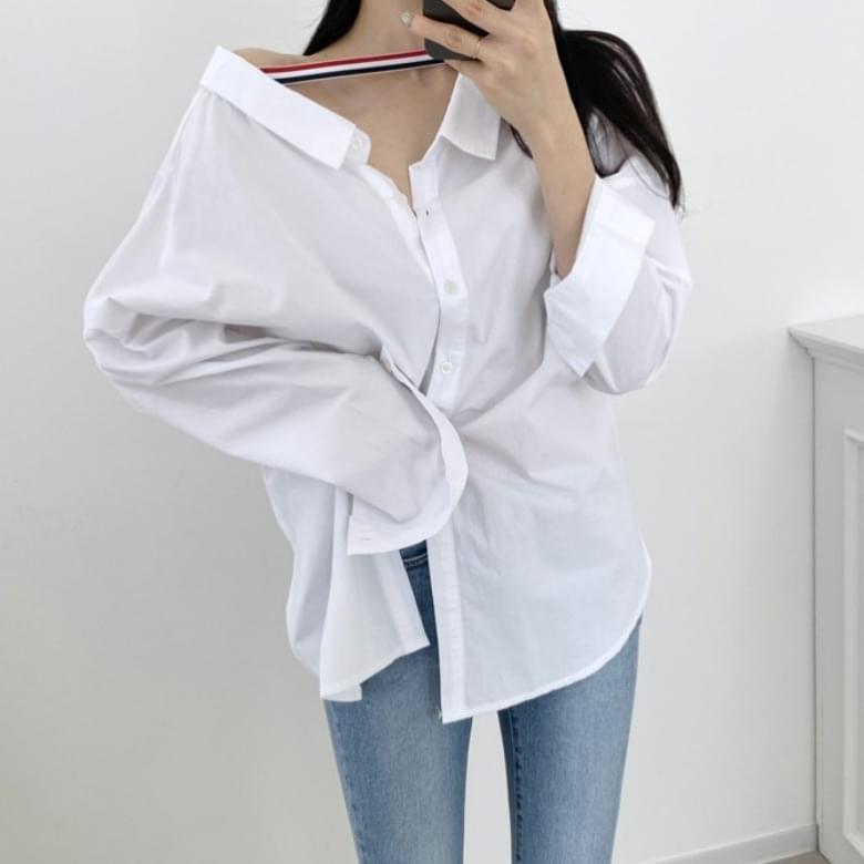 Printed Simple Loose Fit Back Two-Way Shirt Shirt